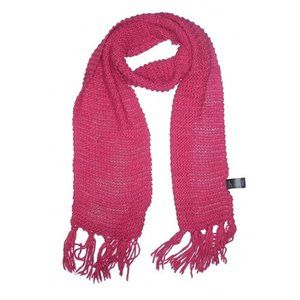 [9-41] H&M bright pink crochet knit fringed scarf